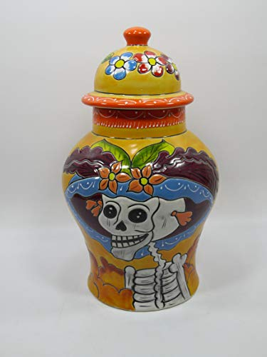 GINGER JAR Colorful Mexican Talavera Ceramic,Tibor Vase, day of the dead catrina