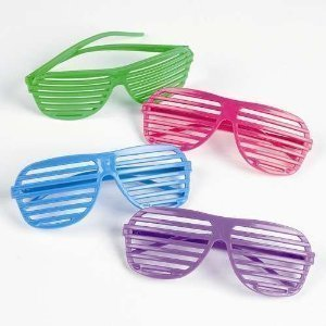 Oriental Trading Shutter Shading Glasses (12-Pair) (80s Neon Fashion)