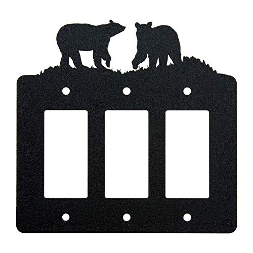 - Bear Triple Gang Light Switch Wall Plate (Triple Rocker (GFCI), Black)