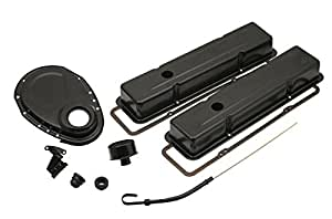 Mr. Gasket 9834BP Flat Black Engine Dress-Up Kit for Small Block Chevy