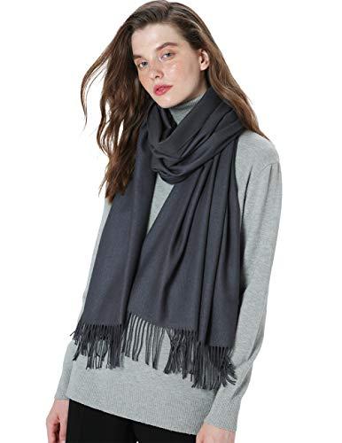 MaaMgic Womens Large Soft Cashmere Feel Pashmina Shawls Wraps Light Scarf, Steel Grey