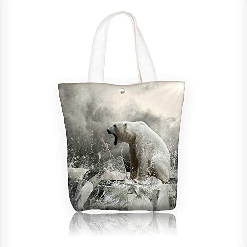 Womens Lady Hunter 8' - Women's Canvas Tote Handbags White Polar Bear Hunter on the Ice in water drops. Casual Top Handle Bag Crossbody Shoulder Bag Purse W11xH11xD3 INCH