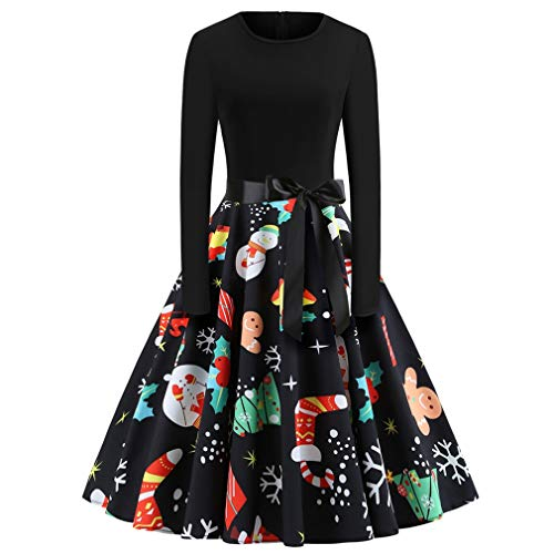 Alljoin Women's Vintage Christmas O-Neck Printed Party Retro A-Line Swing Dress (Black Long Sleeve 2#, M)