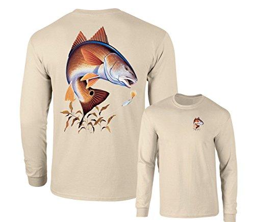 Redfish Lure Fishing Long Sleeve T-Shirt, Sand, XXXL (Redfish Fishing T-shirt)