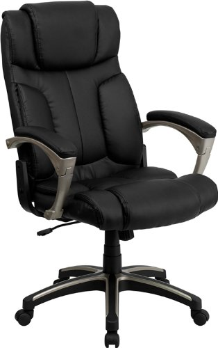 Flash Furniture High Back Folding Black Leather Executive Swivel Office Chair with Arms (High Back Black Leather Contemporary Office Chair)