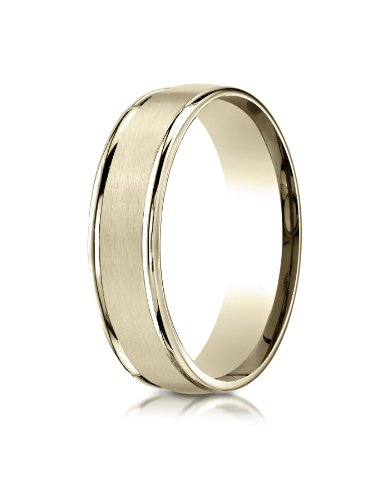 14k Yellow Gold 6mm Comfort-Fit Satin Finish High Polished Round Edge Carved Design Wedding Band Ring for Men & Women Size 4 to 15 - High Satin Finish