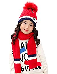 Kids Beanie Pom Hat and Knit Scarf 2pcs Set for Winter Warm Girls Boys 3-8 Years (Red)