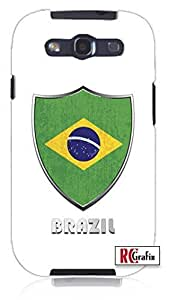 Cool Painting Premium Brazil Flag Badge Direct UV Printed Unique Quality Hard Snap On Case for Samsung Galaxy S4 I9500 - White Case