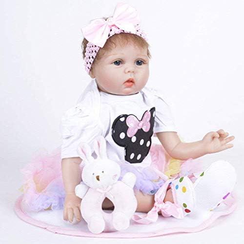 Reborn-poppen, Verzorgende poppen, Wedergeboorte-pop Simulatie Babysiliconen pop 55 cm Kinderspeelgoed, 55 cm Verzorgende poppen