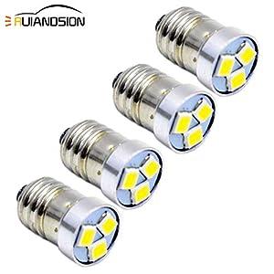 Ruiandsion 4pcs 3V 6V 12V E10 LED Bulb 3030 3SMD White LED Replacement Bulb Upgrade for Headlamps Flashlights Torch…