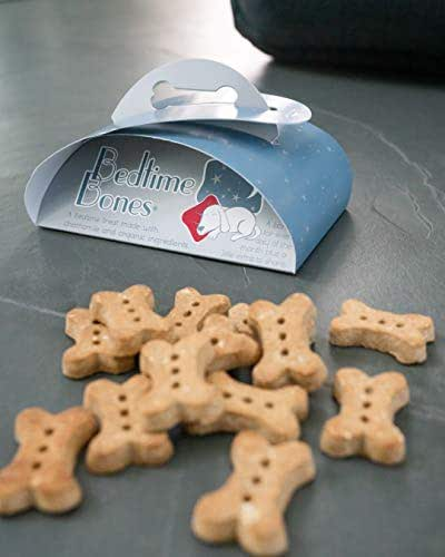 BEDTIME BONES are an All-Natural Dog Treat with Organic Ingredients-Chamomile to Help Your Dog Sleep are an Organic Dog Bone Treat with Chamomile to Help Your Dog Sleep.
