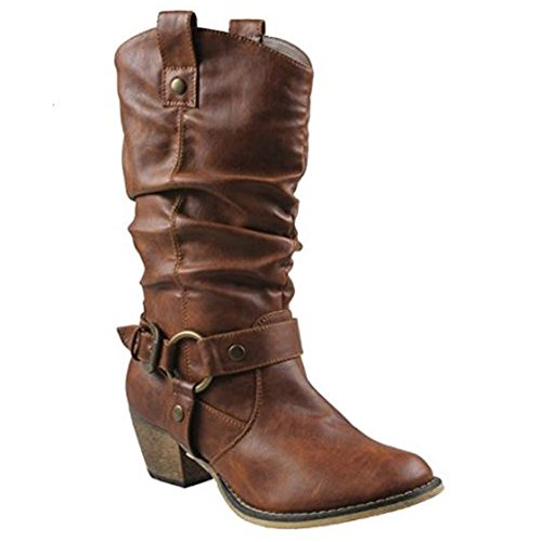 Tan Standard Womens Boots (Women's Western Cowboy Pointed Toe Knee High Pull On Tabs Boots, TPS Wild-02 v25 Tan Size 9)