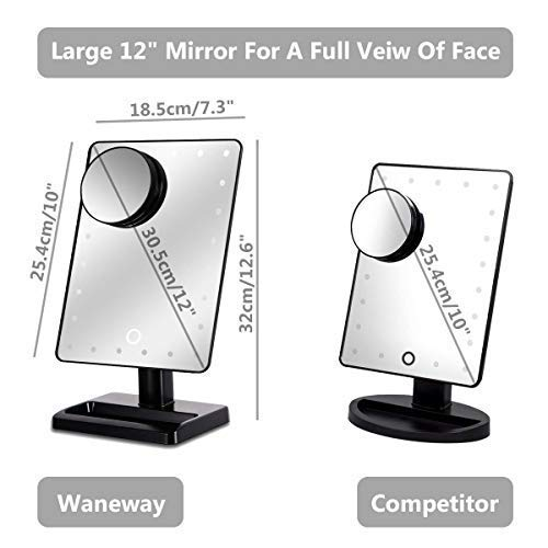 Waneway 12 Inch Screen Makeup Mirror With 24 Led Lights