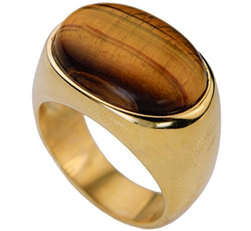 Polished Tiger Eye Men's Ring Sleek & Classy 18K Gold overlay Size (Mens Gold Overlay)