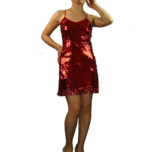Sequin Valentine Party Fancy Dance Dress Outfit Costume 80s Era Christmas Red (80s Womens Fancy Dress)