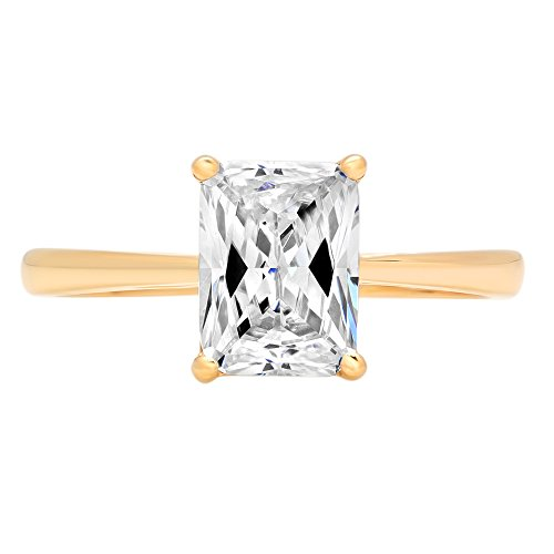 Designer Cz Rings - 2.0 ct Brilliant Emerald Cut Simulated Diamond CZ Designer Solitaire Wedding Bridal Promise Ring in Solid 14k Yellow Gold
