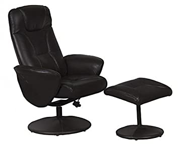 Superb Turin Swivel Recliner Chair Reclining Armchair With FREE Matching Footstool    Black