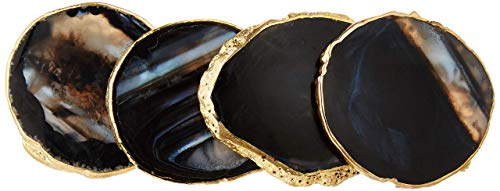 """Modern Agate Coasters with Gold Edges and Rubber Bumpers (3.5""""-4""""). Set of 4 Geode Stone Slices. Perfect Drink Holder for any Glass or Cup (Black)"""