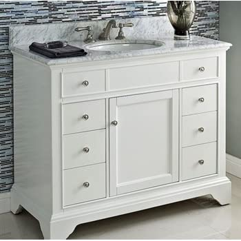 Abbey 42-inch White Bathroom Vanity (Carrara/White): Includes Soft ...