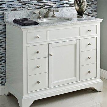 "lovely Design Element DEC076F-W London 42"" Single Sink Vanity Set in White Finish"
