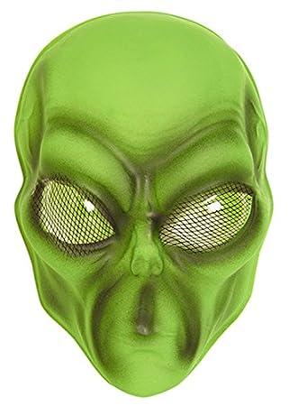 Los niños tamaño de máscara Alien plástica verde