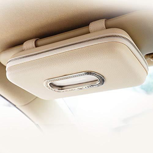 Cartisen Car Tissue Holder, Sun Visor Napkin Holder, Car Visor Tissue Holder, Luxury PU Leather Backseat Tissue Case Holder (Beige)