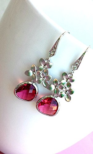 - Cherry Blossom with Fuchsia Drop Earrings