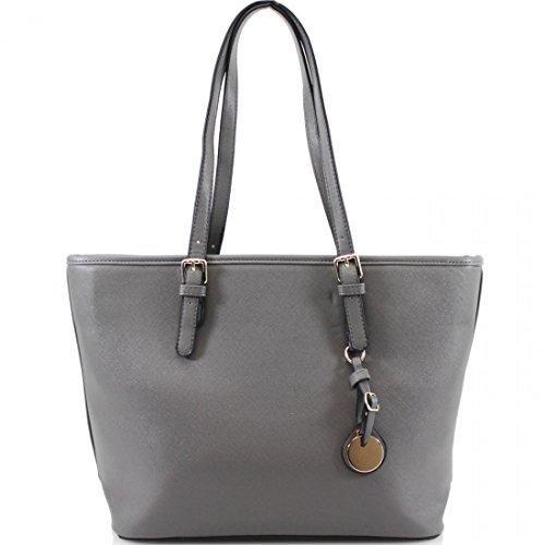LeahWard Women's Large Shopper Bag Long Shoulder Strap Bag 2985 Grey H28cm X W44cm X D14cm