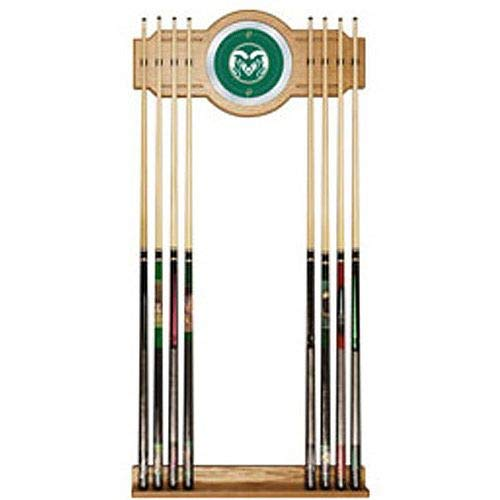 Aromzen Colorado State University Wood and Mirror Wall Cue Rack