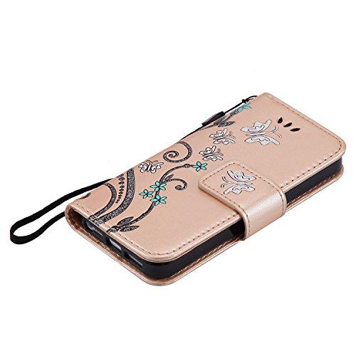 iPhone 5C Hülle Leder, Lomogo Schutzhülle Brieftasche mit Kartenfach Klappbar Magnetverschluss Stoßfest Kratzfest Handyhülle Blumenprägung Case für Apple iPhone5C - HOHA22917 Violett Gold