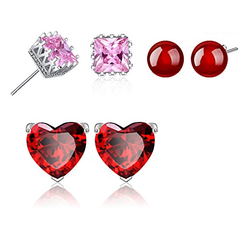 Gorgeous!Women Girl Mini Sweet Heart 5 mm Brilliant Red Garnet Platinum Plated High Polished Pierced Ear Studs Earrings Children Pierced Earrings