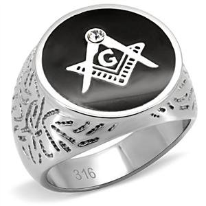 (Eternal Sparkles Men's Stainless Steel Round Black Enamel Masonic Ring with Clear Round Crystal)