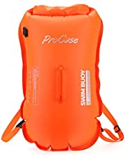 ProCase Swim Buoy Backpack, 35L Swimming Bubble Safety Float Waterproof Dry Backpack with Detachable Shoulder Strap for Boating Kayaking Fishing Rafting Swimming Beach Hiking Camping -Orange