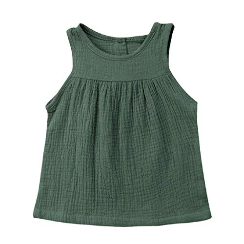 Putars Baby Toddle Infant Girls Ruched Tank Tops T Shirts Blouse Sleeveless Green