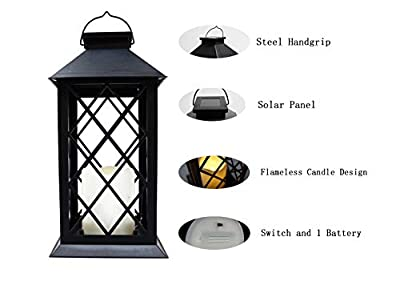 Z.Eternity Solar Lantern,Outdoor Garden Hanging Lantern-Waterproof LED Flickering Flameless Candle Design Lights for Table,Outdoor,Party