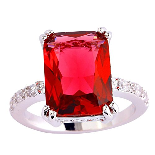 Psiroy 925 Sterling Silver Grace Womens Charms Gorgeous 11mm*15mm Emerald Cut Ruby Spinel CZ Filled Ring