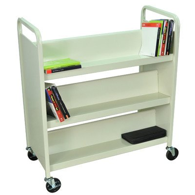 Truck Book Luxor (Luxor Rolling 37-Inch Book Truck 3 Double Side Shelves Putty)