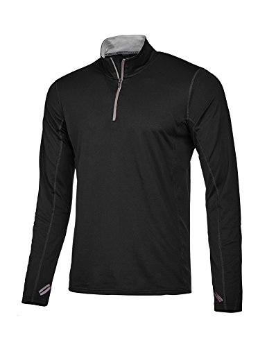 Jinidu Men's Long Sleeve Quarter-Zip Pullover Quick Dry Sports Tops Cycling Jersey Running Training T (Pullover Training Top)