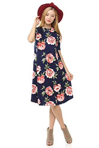 Dress Trapeze Floral - iconic luxe Women's Mock Neck Trapeze Midi Dress X-Large Floral Navy Red