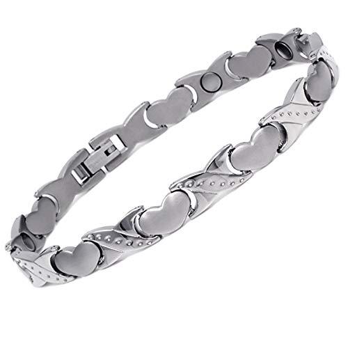 CMS MAGNETICS Novoa Women's Titanium Magnetic Heart Bracelet with Satin Accents - 12,800 Gauss - Bracelet Heart Hook