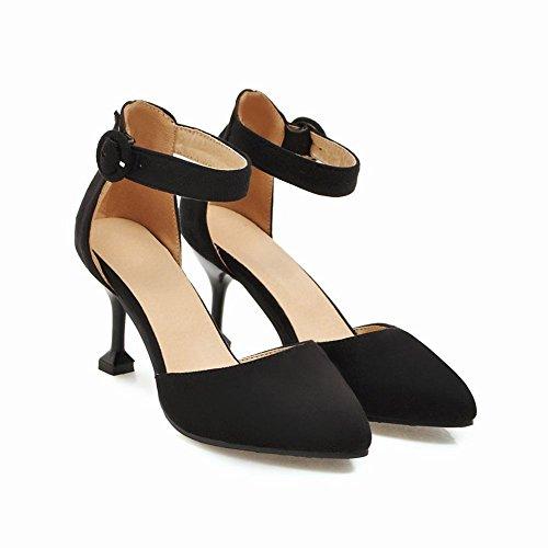 Mee Shoes Damen High Heels Spitz Ankle Strap Pumps Schwarz