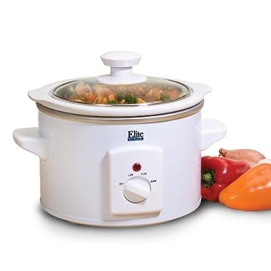 MaxiMatic MST-250XW Elite Cuisine 1-1/2-Quart Round-Shaped Slow Cooker, White