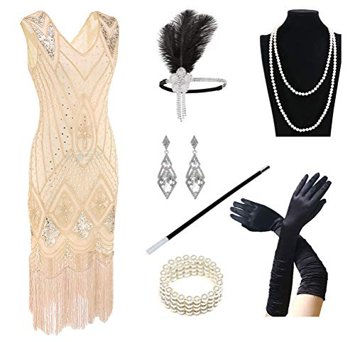 1920s Women's Gatsby Costume Flapper Dresses V Neck Fringed Dress with 20s Accessories Set of 7 Beige -