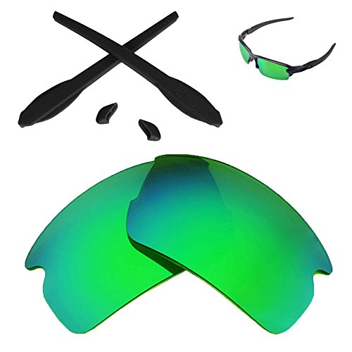 Walleva Replacement Lenses and Rubber Kit for Oakley Flak 2.0 Sunglasses - Multiple Options (Emerald Mirror Coated Polarized Lenses + Black Rubber)