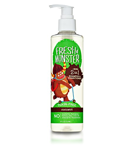 Price comparison product image Fresh Monster 2-in-1 Kids Shampoo & Conditioner,  Coconut (8oz) - Toxin-Free - Sulfate-Free - Paraben-Free - Natural Botanical Extracts - Hypoallergenic - Natural Kid Shampoo