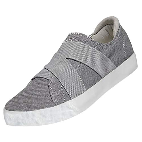 Womens Canvas Shoes Flat Sports Running Shoes Summer Peas Shoes Beach Shoes Solid Color Casual Single Shoe Loafers Grey