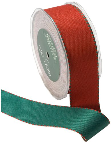 May Arts 1-1/2-Inch Wide Ribbon, Red and Green Reversible Grosgrain by May Arts