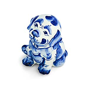Perro estatuilla porcelana Rex 11 cm Pintado a mano símbolo año azul Gzel 2018