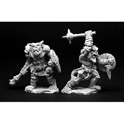 Reaper Miniatures Bugbear Warrior (2 Pieces) #02818 Dark Heaven Unpainted Metal: Toys & Games