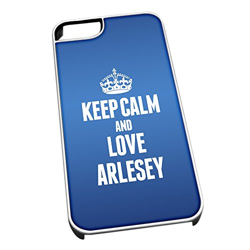 Bianco cover per iPhone 5/5S, blu 0021 Keep Calm and Love Arlesey